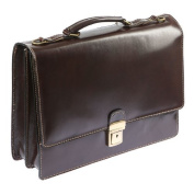 Italian Man's Pocket Briefcase In Leather Of Braun Bags4Less Briefcase