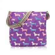 Purple Dachshund Sausage Dog Canvas Ladies Messenger Fashion Bag Handbag