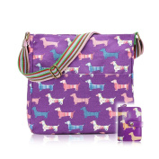 Ladies Girls Kids Sausage Dog Print Crossbody Bag