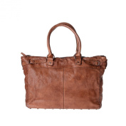 Washed leather bag garment-dyed for women with studs DUDU Onyx Brown