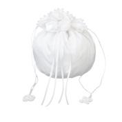 Phenovo Satin Bridal Bridesmaid Dolly Bag Handbag Faux Pearl Decorated White