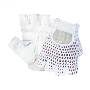 Prime Leather Top Quality Fingerless Net Gloves Cycle Biker Gym Cycling Driving Body Building Weight Lifting 404 White Leather White Mesh