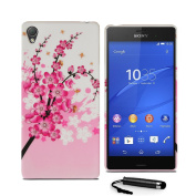 Sony Xperia Z3 (Full Size) Flower Floral Soft Silicone Rubber Case Cover & Screen Protector & Polishing Cloth & Stylus
