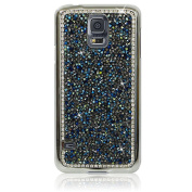 Xtra-Funky Exclusive Samsung Galaxy S5 (i9600) Crystal Rhinestone Rocks Hard Case with Sparkling Diamante Edging and Chrome Rim - Blue