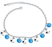 FLORAY Anklet for Girls or Women, Moon Star and Blue Crystals, Beautiful Gift.