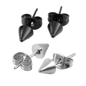 JOVIVI Men Women Stainless Steel Spike Punk Earring Jewellery, Silvery and Black, 2pairs