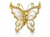 Hair Clip - Pink and White Gold Tone Butterfly Design Hair Clip