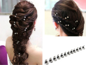 SwirlColor 12 pcs of Elegant Mini Hairpin Rhinestone Flower Hairpin Jaw Clips For Wedding Party Prom