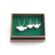 Handmade Porcelain [Bird] Diffuser Jewellery Necklace and Earrings Set