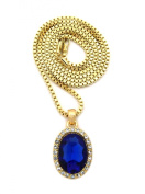 Pave Oval Faux Sapphire Stone Pendant w/ 2mm 61cm Box Chain Necklace in Gold-Tone