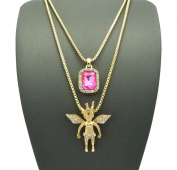 Pave Pink Stone & Crown Angel Pendant Set 2mm 61cm & 76cm Box Chain Necklace in Gold-Tone