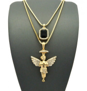 Faux Onyx Stone & Pave Halo Angel Pendant Set 2mm 61cm & 76cm Box Chain Necklace in Gold-Tone