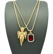 Pave Praying Angel & Faux Ruby Stone Pendant w/ 2mm 61cm Box Chain Necklace in Gold-Tone