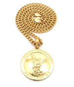 Saint Michael Archangel Medal Pendant w/ 5mm 61cm Cuban Chain Necklace in Gold-Tone