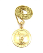 Saint Michael Archangel Medal Pendant w/ 2mm 61cm Box Chain Necklace in Gold-Tone