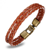 FLORAY Jewellery Men's Brown Leather Rope Bracelet, Braided Cuff Bangle, Suitable Gift.