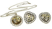 niceEshop(TM) Vintage Heart Shaped Leopard Print Necklace Sweater Chain