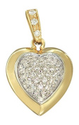 Hobra 585 GOLD WITH GOLD HEART CUBIC Zirconia-Gold PENDANT HEART 14 CT GOLD PENDANT WITH EXCLUSIVE