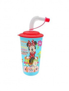 Walt Disney Minnie Mouse (101416) Drinking straw bottle with 3D Motion Waxes L Pictures and Flexi Drinking Straw