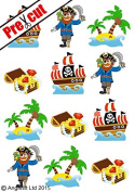 PRE-CUT PIRATE SHIP TREASURE ISLAND EDIBLE RICE / WAFER PAPER CUP CAKE TOPPERS PARTY BIRTHDAY DECORATION