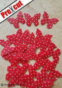 PRE-CUT RED POLKA DOT BUTTERFLY BUTTERFLY EDIBLE RICE / WAFER PAPER CUP CAKE TOPPERS PARTY DECORATION
