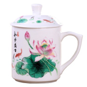 ufengke®dehua ceramic white jade porcelain tea cup with lid and printed beautiful animals, flowers pattern and chinese characters-lotus and fish