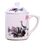 ufengke®dehua ceramic white jade porcelain tea cup with lid and printed beautiful animals, flowers pattern and chinese characters-ink painting lotus