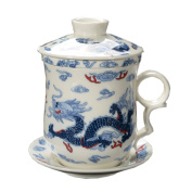 ufengke®4-piece dehua ceramic tea cup with filter, saucer, and lid-blue & white and dragons pattern