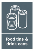 Recycling bin sticker 20cm x 30cm Food Tins and Drink Cans - Self adhesive vinyl