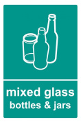 Recycling bin sticker 20cm x 30cm Mixed Glass - Self adhesive vinyl