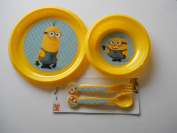 Despicable Me Minion Made Plastic plate, bowl & cutlery set