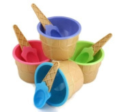 4 Ice cream Cone Pattern Ice Cream Bowls with Matching Spoons Pastel Colours