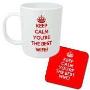 Keep Calm You're The Best Wife Mug And Coaster Gift Set - Great present idea for any Wife - Christmas or Birthday.