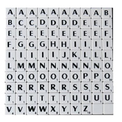 Full Set of Scrabble Tiles (100 tiles) - Black Letters on White Plastic Tiles - Replacement, Crafts, Scrapbooking and Jewellery