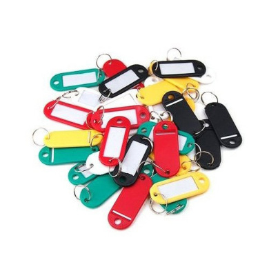 Sonline 30 X Coloured Plastic Key Fobs Luggage ID Tags Labels Key rings with Name Cards, Ideal For Many Uses - Bunches Of Keys, Luggage Tags, Memory Sticks, Name Tags For Your Pets, etc