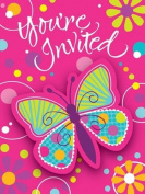 Creative Converting Butterfly Sparkle Party Invitations, 8-Count Plaything, Amusement, Play, Toys, Game