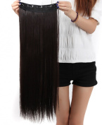 S-noilite Trendy 26 Inches (66cm) Dark Brown One Piece Long Straight 3/4 Full Head Clip In Hair Extensions Extension For UK Women Lady