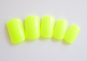 J and J Beauty 24 Full Cover False Nails with Glue and Adhesive Tabs - Glossy Bright Yellow