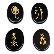 Natural Black Agate 4pcs Engraved Chakra Palm Stone Crystal Reiki Healing with Random Pouch EN0038SY
