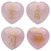 Natural 4pcs Rose Quartz Engraved Heart-shaped Chakra Stone Palm Stone Crystal Reiki Healing with One Random Pouch EN0510SY
