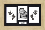 Anika-Baby BabyRice Baby Hand and Footprints Kit includes Black Inkless Prints/ Oak effect Frame with Black Mount Display
