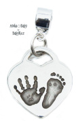 BabyRice Solid Sterling Silver Heart Charm with Handprint & Footprint + Charm Bracelet Connector
