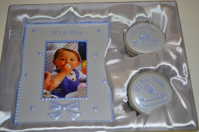 BABY GIFT SET -PHOTO FRAME WITH FIRST CURL AND FIRST TOOTH BOXES (Blue)