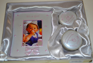 BABY GIFT SET -PHOTO FRAME WITH FIRST CURL AND FIRST TOOTH BOXES (Pink)