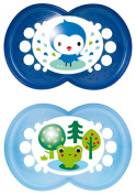 MAM 172311 Original Silicone Pack of 2 Soothers for Boys 6 - 16 Months Assorted Colours BPA Free