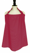 BebeChic * Top Quality 100% Cotton * Breastfeeding Covers * Boned Nursing Tops - with Storage Bag - red wine / white dot