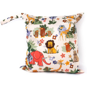 Waterproof Reusable Baby Cloth Nappy Bag Double Zipper Forest Animal Pattern