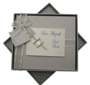 white cotton cards Bar Mitzvah Guest Book Jewish Gift