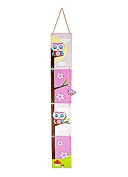 Little Owl Themed Pink Wooden Height Chart Ideal for Girls Nursery or Bedroom