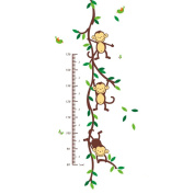 Wuiyepo Monkey Forest Removable Wall Decal Stickers Kids Height Chart Measure